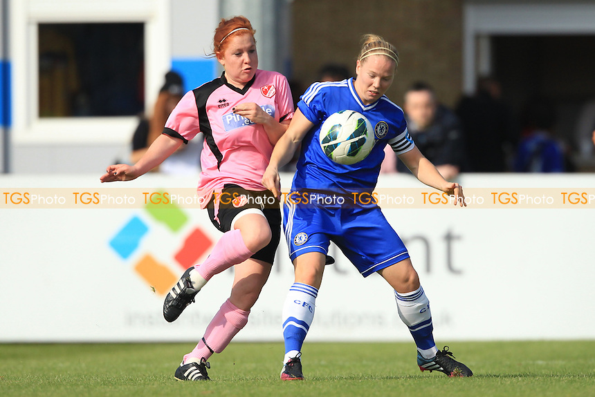 Martha Harris of Lincoln challenges for the ball - Chelsea Ladies vs Lincoln Ladies - FA Womens Super League Football at Staines Town FC - 29/09/13 - MANDATORY CREDIT: Simon Roe/TGSPHOTO - Self billing applies where appropriate - 0845 094 6026 - contact@tgsphoto.co.uk - NO UNPAID USE