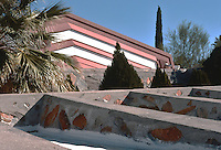 F.L. Wright: Taliesen West. Horizontal forms in redwood and concrete.  Photo '77.