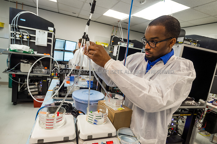 SEATTLE, USA - SEPTEMBER 16th, 2015<br /> <br /> DiJon Hill, an electro physiologist, helps prepare mouse brain cells for research at the Allen Institute for Brain Science in Seattle, WASH., USA.<br /> <br /> [SOURCE: WIKIPEDIA} The Allen Institute for Brain Science is a Seattle-based independent, nonprofit medical research organization dedicated to accelerating the understanding of how the human brain works. The Allen Institute promotes the advance of brain research by providing free data and tools to scientists worldwide with the aim of catalyzing discovery in disparate research programs and disease areas.<br /> <br /> Started with $100 million in seed money from philanthropist Paul Allen in 2003, the Institute tackles projects at the leading edge of science&mdash;far-reaching projects at the intersection of biology and technology. The resulting data create free, publicly available resources that fuel discovery for countless researchers<br /> <br /> (Photo by Stuart Isett for The Washington Post)