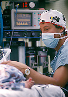 An Anesthesia Doctor at work in the Operating Room.