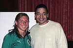 25 November 2008: .Lori Chalupny, U.S. Olympic gold medalist and member of the St. Louis Athletica (left) and Carlos Machado, St. Louis Athletica assistant coach (right).  Women's Profession Soccer unveiled the team name and logo for the St. Louis WPS franchise at the Missouri Athletic Club in St. Louis, Missouri.