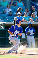 Scott Schebler #24 of the Rancho Cucamonga Quakes bats against the Lancaster JetHawks at The Hanger on August 25, 2013 in Lancaster, California. Lancaster defeated Rancho Cucamonga, 7-1. (Larry Goren/Four Seam Images)