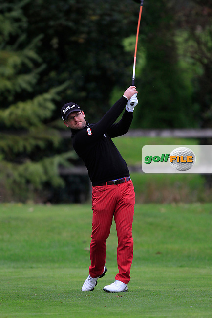 Glen Robinson (St. Helen's Bay Golf Resort) on the 3rd tee during Round 4 of The Cassidy Golf 103rd Irish PGA Championship in Roganstown Golf Club on Sunday 13th October 2013.<br /> Picture:  Thos Caffrey / www.golffile.ie
