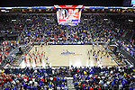SIOUX FALLS, SD - MARCH 10: Introductions are made between South Dakota State University and the University of South Dakota prior to the tip of the Summit League Championship Tournament game Tuesday at the Denny Sanford Premier Center in Sioux Falls, SD. (Photo by Dick Carlson/Inertia)