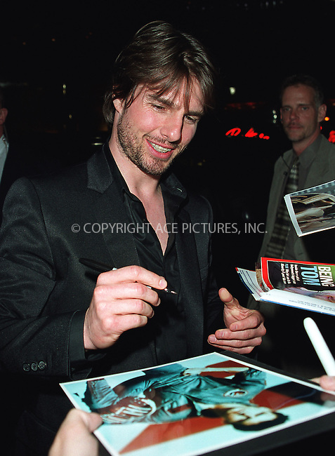 "Tom Cruise arrives at Cipriani 42nd Street for the the world premiere afterparty of ""Minority Report"" in New York. June 17, 2002. Please byline: Alecsey Boldeskul/NY Photo Press.   ..*PAY-PER-USE*      ....NY Photo Press:  ..phone (646) 267-6913;   ..e-mail: info@nyphotopress.com"