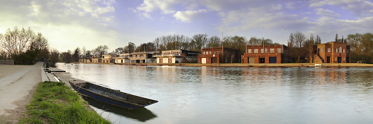University Boat Houses on the River Thames in Oxford, Uk