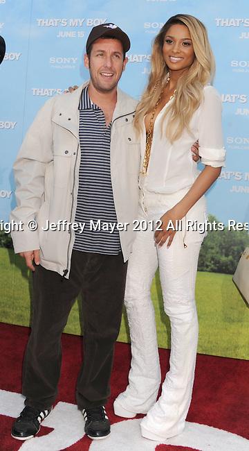 WESTWOOD, CA - JUNE 04: Adam Sandler and Ciara arrive at the Los Angeles premiere of 'That's My Boy' held at Regency Village Theatre Westwood on June 4, 2012 in Westwood, California.