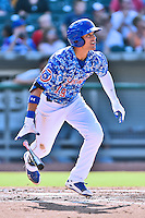 Tennessee Smokies right fielder Jacob Hannemann (19) swings at a pitch during a game against the Birmingham Barons on August 2, 2015 in Kodak, Tennessee. The Smokies defeated the Barons 5-2. (Tony Farlow/Four Seam Images)