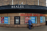BNPS.co.uk (01202 558833)<br /> Pic: BNPS<br /> <br /> Pictured today (Monday) Beales in Bournemouth, Dorset. The department store started in Bournemouth back in 1881.<br /> <br /> Department store Beales falls into administration. <br /> <br /> One of Britain's oldest department stores has today gone into administration, with the 'lunacy' of high business rates being to blame.<br /> <br /> The move by Beales has thrown into doubt 1,300 jobs of those who work in its 22 stores across the country. <br /> <br /> Tony Brown, the chief executive and owner of Beales, has appointed administrators KPMG after failing to secure a sale for the 140-year-old business.<br /> <br /> The administrator will look to sell Beales as a going concern or break it up and sell its assets in order to pay creditors. <br /> <br /> Beales stores are continuing to trade today although 'Closing Down Sale' signs have already appeared in the windows of its flagship store in Bournemouth, Dorset.