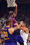 Turkish Airlines Euroleague 2018/2019. <br /> Regular Season-Round 24.<br /> FC Barcelona Lassa vs R. Madrid: 77-70. <br /> Victor Claver, Chris Singleton & Walter Tavares.
