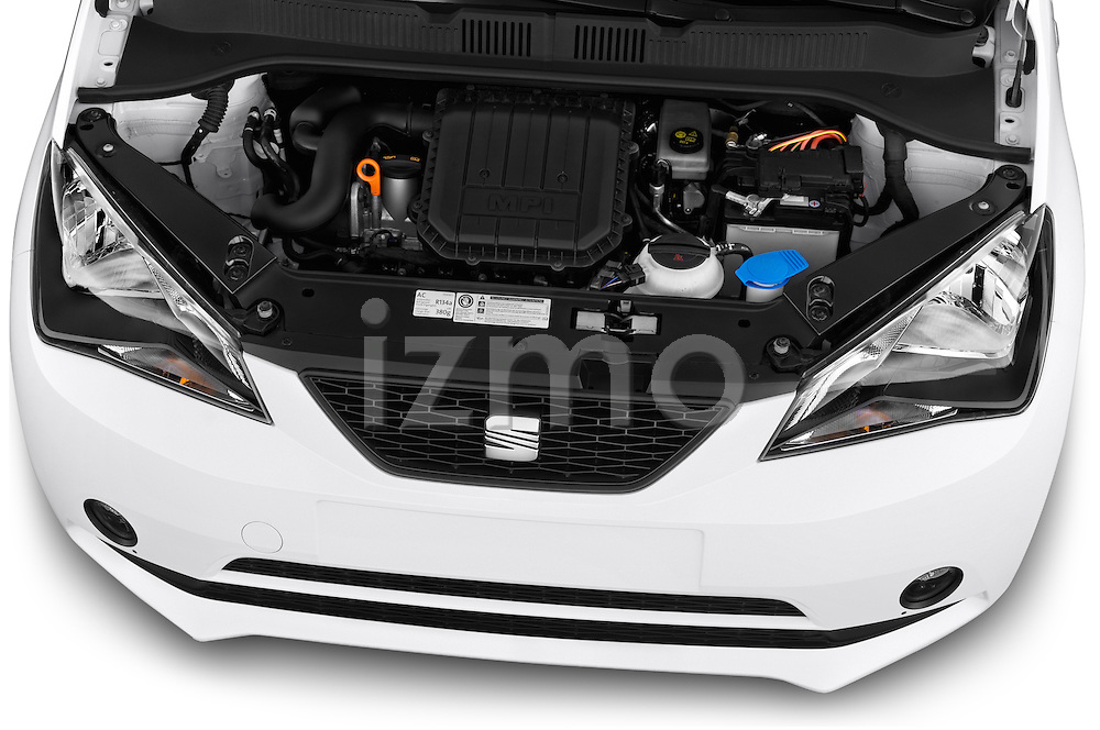 Car Stock 2014 Seat MII Style 5 Door Hatchback 2WD Engine high angle detail view