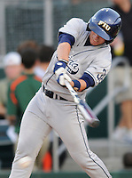 23 April 2008:  Florida International right fielder Raimy Fuentes (38) bats in the FIU 6-3 victory over Miami at Mark Light Field in Coral Gables, Florida.