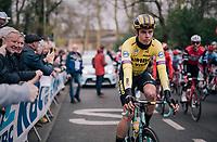 First race in his newest team (colours) for Wout Van Aert (BEL/Jumbo-Visma)<br /> <br />  74th Omloop Het Nieuwsblad 2019 <br /> Gent to Ninove (BEL): 200km<br /> <br /> ©kramon
