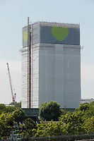 Banners unveiled at top of Grenfell Tower, one year anniversary of destruction by fire, with the message: 'Forever in our hearts'.<br /> Notting Hill. London, England on June 11, 2018.<br /> CAP/GOL<br /> &copy;GOL/Capital Pictures