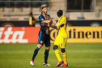 Jeff Parke (31) of the Philadelphia Union has words with Dominic Oduro (11) of the Columbus Crew. The Philadelphia Union defeated the Columbus Crew 3-0 during a Major League Soccer (MLS) match at PPL Park in Chester, PA, on June 5, 2013.