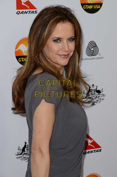 Kelly Preston.at The G'Day USA Black Tie Gala held at The JW Marriot at LA Live in Los Angeles, California, January 12th 2013..portrait headshot grey gray necklace smiling side .CAP/ADM/TW.©Tonya Wise/AdMedia/Capital Pictures.