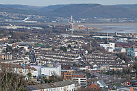 General view of Saint Thomas area of Swansea, Wales, UK. Wednesday 30 January 2019