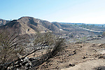 Charred remains along the wash near the Pacoima dam after the Sylmar Fire which started near Veterans Park in Sylmar.16 November 2008