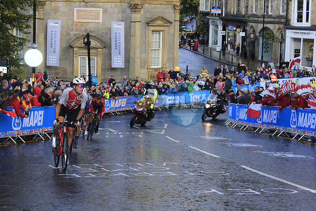 The lead group including Stefan Bissegger (SUI) on the Harrogate circuit during the Men U23 Road Race of the UCI World Championships 2019 running 186.9km from Doncaster to Harrogate, England. 27th September 2019.<br /> Picture: Andy Brady | Cyclefile<br /> <br /> All photos usage must carry mandatory copyright credit (© Cyclefile | Andy Brady)