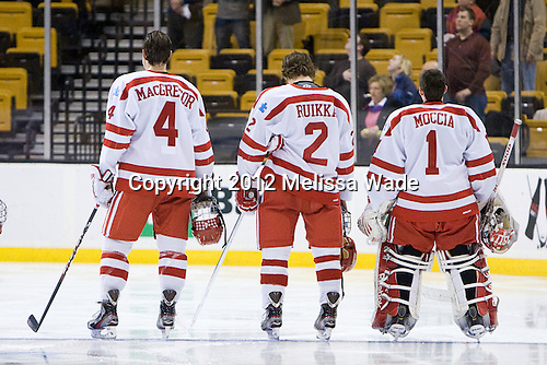 Patrick MacGregor (BU - 4), Ryan Ruikka (BU - 2), Anthony Moccia (BU - 1) - The Boston University Terriers defeated the Harvard University Crimson 3-1 in the opening round of the 2012 Beanpot on Monday, February 6, 2012, at TD Garden in Boston, Massachusetts.