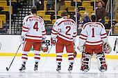 Patrick MacGregor (BU - 4), Ryan Ruikka (BU - 2), Anthony Moccia (BU - 1) - The Boston University Terriers defeated the Harvard University Crimson 3-1 in the opening round of the 2012 Beanpot on Monday, February 6, 2012, at TD Garden in Boston, Massachusetts.