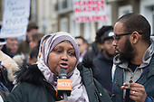 Fowsiya Abdi, mother of Sadiq Adaam Mohamed, speaking at the site of his fatal stabbing in Kentish Town.  Camden Against Violence silent march by community campaigners and Camden NEU members mobilising against knife crime following a series of fatal stabbings in the borough .