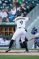 Tyler Ladendorf (9) of the Charlotte Knights at bat against the Durham Bulls at BB&T BallPark on May 15, 2017 in Charlotte, North Carolina. The Knights defeated the Bulls 6-4.  (Brian Westerholt/Four Seam Images)