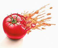 Juice squirting from squashed tomato