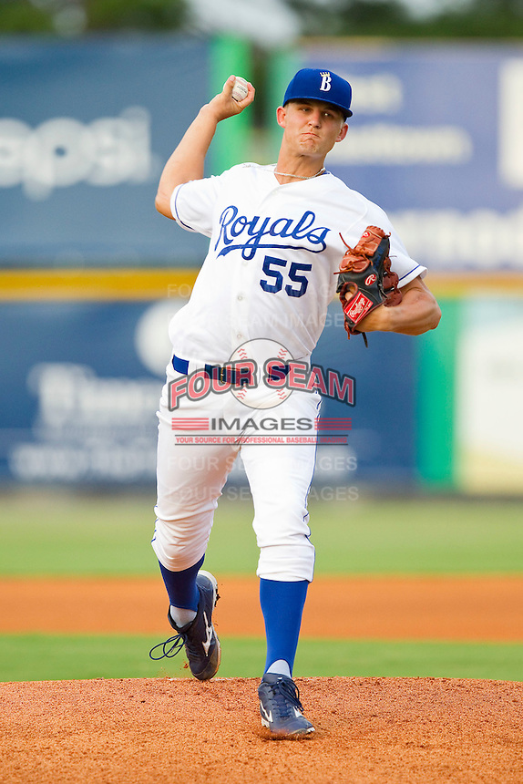 Burlington Royals starting pitcher Christian Binford (55) in action against the Danville Braves at Burlington Athletic Park on July 18, 2012 in Burlington, North Carolina.  The Royals defeated the Braves 4-3 in 11 innings.  (Brian Westerholt/Four Seam Images)