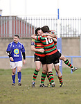 21.04.12<br /> Action from Fitzgerald Park Limerick, Thomond V Highfield. Highfield celebrate around dejected Thomond players. Picture: Alan Place/Press 22.