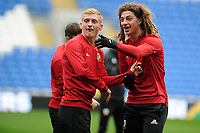 Mathew Smith (left) and Ethan Ampadu (right) of Wales in action during the Wales Training Session at the Cardiff City Stadium in Cardiff, Wales, UK. Thursday 15 November 2018