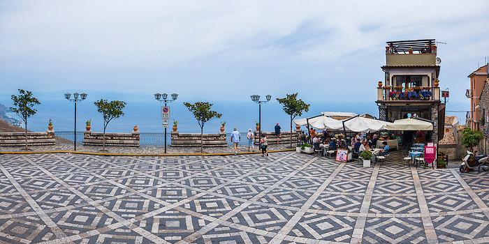 Panoramic photo of the main square in Castelmola, a hill top village above Taormina, Sicily, Italy, Europe. This is a panoramic photo of the main square in Castelmola, a hill top village above Taormina, Sicily, Italy, Europe.