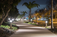 Lights line the pathway as we look north towards Merrimac Way along the Harbor Boulevard Cornerstone Bike Trail in Costa Mesa, California under a partly-cloudy night sky.  The landscaping of the path, including a diversity of plants and rocks, can be seen.  Virtually no cars were on Harbor Boulevard this night, so the street is nearly empty.  The night was calm and still, with just the hint of a faint breeze, so all but a few palm fronds are crisp and not moving in this long-exposure night image.  The landscape architecture work on the project was done by David Volz Design.