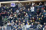 SIOUX FALLS, SD - MARCH 23: Fans from Mankato celebrate a goal against Minnesota Duluth during their game at the 2018 West Region Men's NCAA DI Hockey Tournament at the Denny Sanford Premier Center in Sioux Falls, SD. (Photo by Dave Eggen/Inertia)
