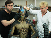 The Shape of Water (2017) <br /> Behind the scenes photo of Shane Mahan, Doug Jones &amp; Mike Hill<br /> *Filmstill - Editorial Use Only*<br /> CAP/MFS<br /> Image supplied by Capital Pictures