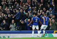 29th October 2019; Goodison Park, Liverpool, Merseyside, England; English Football League Cup, Carabao Cup Football, Everton versus Watford; Mason Holgate of Everton celebrates in front of supporters at the Gwladys Street end after scoring the opening goal after 72 minutes  - Strictly Editorial Use Only. No use with unauthorized audio, video, data, fixture lists, club/league logos or 'live' services. Online in-match use limited to 120 images, no video emulation. No use in betting, games or single club/league/player publications