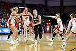 SIOUX FALLS, SD - MARCH 7: Claire Killian #11 of the Omaha Mavericks drives between the South Dakota Coyotes defense at the 2020 Summit League Basketball Championship in Sioux Falls, SD. (Photo by Richard Carlson/Inertia)