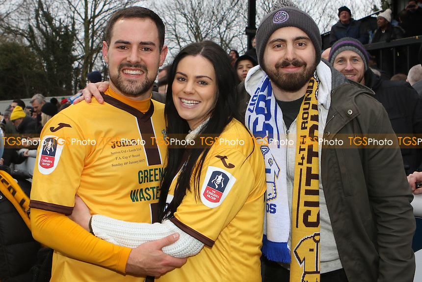An emotional Dan Spence of Sutton United at the final whistle with some of his family during Sutton United  vs Leeds United, Emirates FA Cup Football at the Borough Sports Ground on 29th January 2017