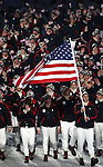 VANCOUVER, BC - FEBRUARY 12:  Flag bearer Mark Grimmette of the United States leads his team through the stadium during the Opening Ceremony of the 2010 Vancouver Winter Olympics at BC Place on February 12, 2010 in Vancouver, Canada. (Photo by Donald Miralle)  *** Local Caption ***
