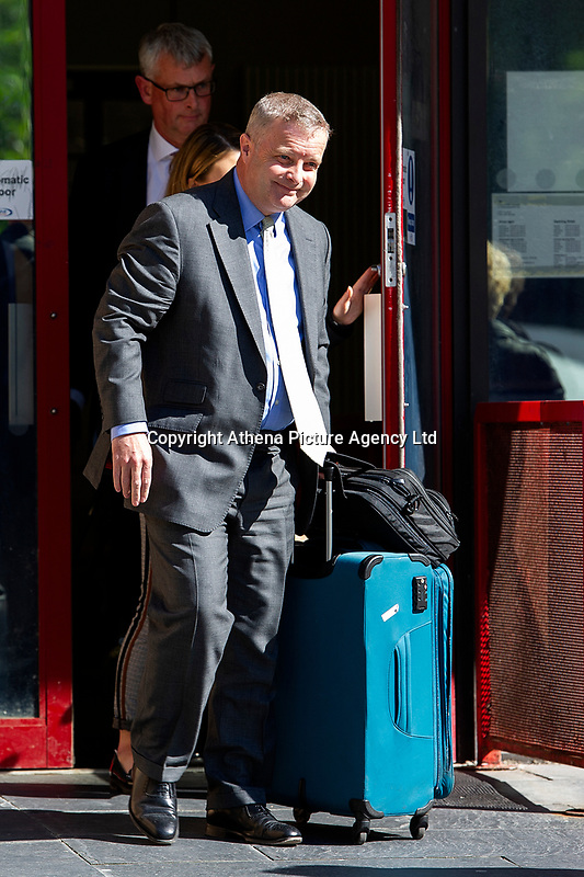 Pictured: Chris Davies, MP leaves Cardiff Magistrates Court.<br /> Re: A judge has ruled that Conservative MP Chris Davies did not deliberately mislead an employment tribunal when he said that he would not face criminal charges over expenses claims.<br /> But the Brecon and Radnorshire MP later pleaded guilty to claiming £700 with false invoices for office photographs.<br /> He is being sued for constructive dismissal by his former constituency office manager, Sarah Lewis.<br /> The judge in Cardiff said the case will go to a full hearing at a later date.