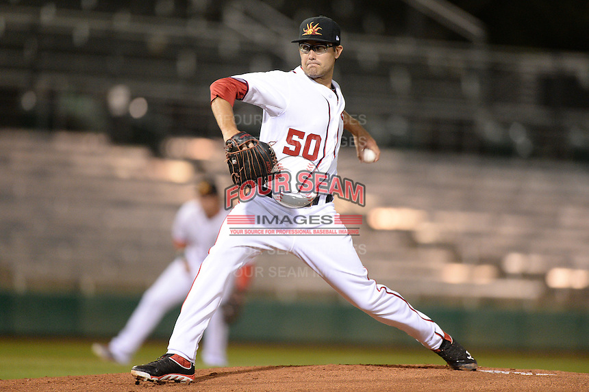 Mesa Solar Sox pitcher Matt Purke (50), of the Washington Nationals organization, during an Arizona Fall League game against the Peoria Javelinas on October 17, 2013 at HoHoKam Park in Mesa, Arizona.  Mesa defeated Peoria 6-1.  (Mike Janes/Four Seam Images)