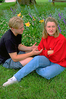 Couple age 18 having a fight.  Vining Minnesota USA
