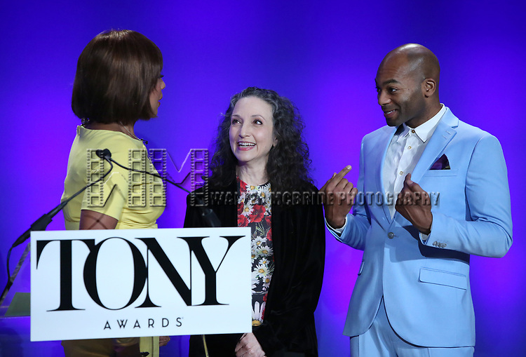 Gayle King, Brandon Victor Dixon, and Bebe Neuwirth during The 73rd Annual Tony Awards Nominations Announcement on April 30, 2019 in New York City.