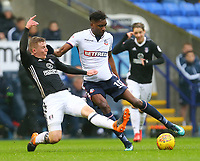 Bolton Wanderers' Sammy Ameobi maintaining the ball against Tim Ream of Fulham<br /> <br /> Photographer Leila Coker/CameraSport<br /> <br /> The EFL Sky Bet Championship - Bolton Wanderers v Fulham - Saturday 10th February 2018 - Macron Stadium - Bolton<br /> <br /> World Copyright &copy; 2018 CameraSport. All rights reserved. 43 Linden Ave. Countesthorpe. Leicester. England. LE8 5PG - Tel: +44 (0) 116 277 4147 - admin@camerasport.com - www.camerasport.com