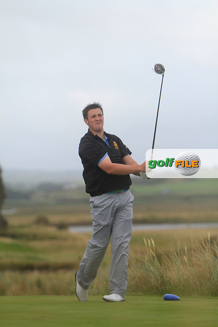 Paul O'Hara (Kilkenny) on the 13th tee during the South of Ireland Amateur Open Championship Final at Lahinch Golf Club  31th July 2013 <br /> Picture:  Thos Caffrey / www.golffile.ie