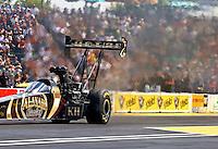 Aug. 4, 2013; Kent, WA, USA: NHRA top fuel dragster driver Khalid Albalooshi during the Northwest Nationals at Pacific Raceways. Mandatory Credit: Mark J. Rebilas-USA TODAY Sports