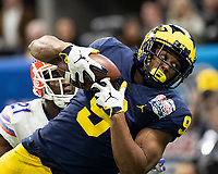 Atlanta, Georgia - December 29, 2018: Mercedes Benz Stadium, the number 10 ranked Florida Gators play the number 7 ranked Michigan Wolverines in the Peach Bowl.