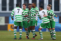 Billy Holland (2nd L) of Waltham Abbey scores the second goal for his team and celebrates during AFC Hornchurch vs Waltham Abbey, Bostik League Division 1 North Football at Hornchurch Stadium on 13th January 2018