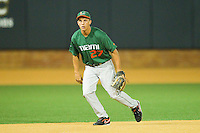 Third baseman Brad Fieger #27 of the Miami Hurricanes on defense against the Wake Forest Demon Deacons at Gene Hooks Field on March 18, 2011 in Winston-Salem, North Carolina.  Photo by Brian Westerholt / Four Seam Images