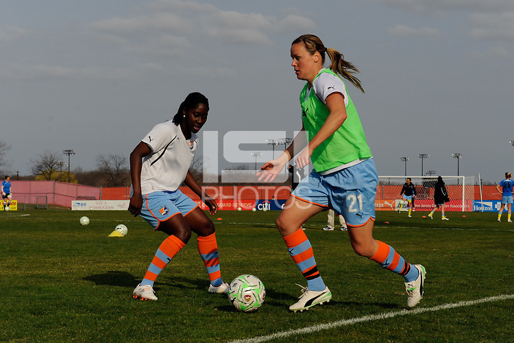 Laura Kalmari (21) and Anita Asante (5) of Sky Blue FC during warmups. The Philadelphia Independence and Sky Blue FC played to a 2-2 tie during a Women's Professional Soccer (WPS) match at Yurcak Field in Piscataway, NJ, on April 10, 2011.